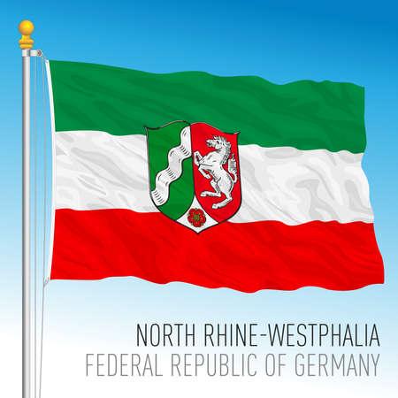 North Rhine Westphalia lander flag, federal state of Germany, europe, vector illustration