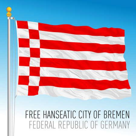Free Hanseatic city of Bremen lander flag, federal state of Germany, europe, vector illustration Vettoriali
