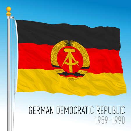 German Democratic Republic DDR historical flag, East Germany, europe, vector illustration Vettoriali