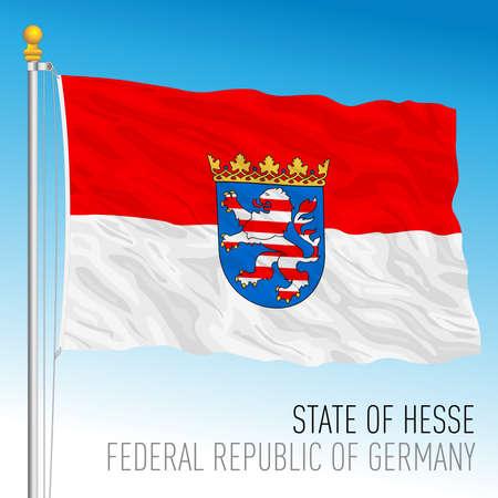 State of Hesse lander flag, federal state of Germany, europe, vector illustration