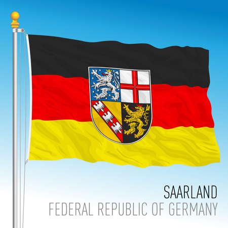Saarland lander flag, federal state of Germany, europe, vector illustration
