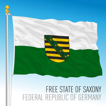 Free State of Saxony lander flag, federal state of Germany, europe, vector illustration