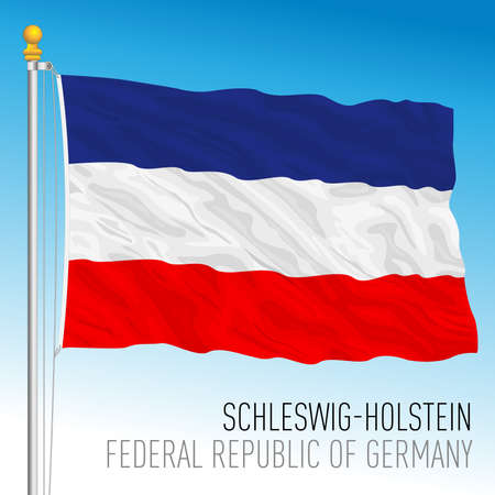 Schleswig Holstein lander flag, federal state of Germany, europe, vector illustration