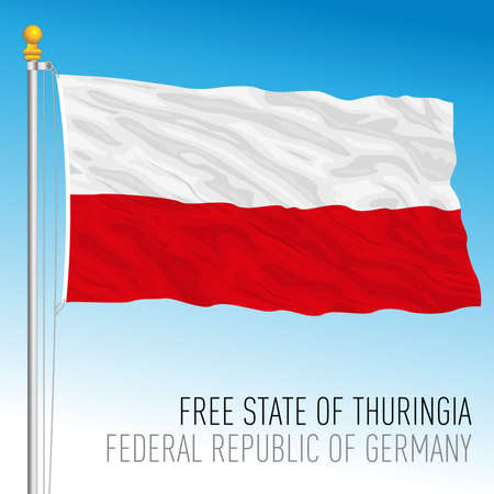 Free State of Thuringia lander flag, federal state of Germany, europe, vector illustration Vettoriali