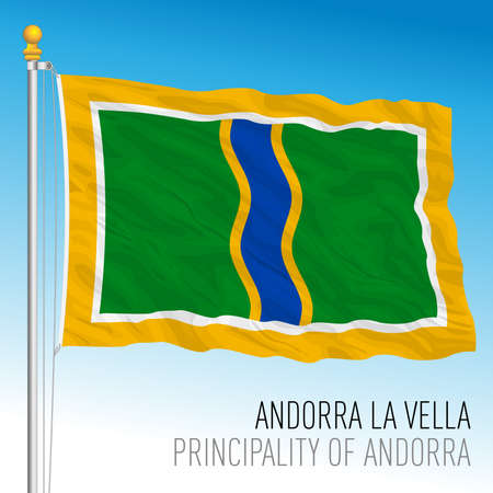 Andorra La Vella city flag, Principality of Andorra, vector illustration