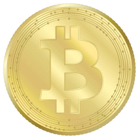 Bitcoin cryptocurrency virtual token, vector illustration Vettoriali