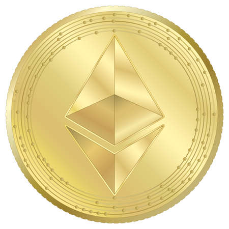 Ethereum cryptocurrency virtual token, vector illustration