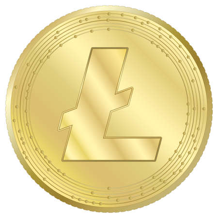Litecoin cryptocurrency virtual token, vector illustration