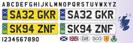 Scotland car license plate, letters, numbers and symbols, vector illustration, United Kingdom