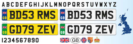 United Kingdom car license plate, letters, numbers and symbols, vector illustration, after brexit