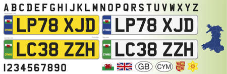 Wales car license plate, letters, numbers and symbols, vector illustration, United Kingdom
