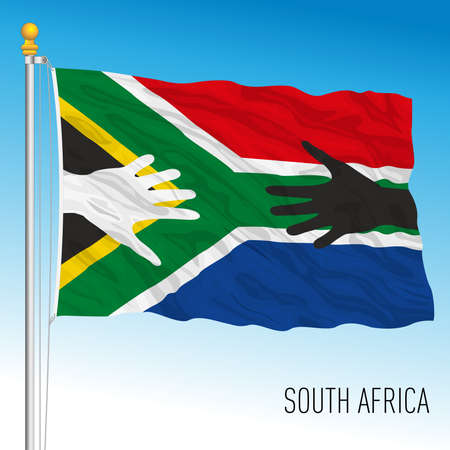 South African fantasy flag with black and white hands, symbol of fraternity, vector illustration Vettoriali