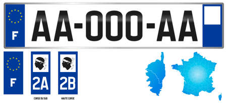 Corse, french license plate, detail of the side label of the department, vector illustration