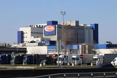 Parma, Italy, 28 February 2021 - External view of the Barilla factory in Parma, famous food industry Editoriali