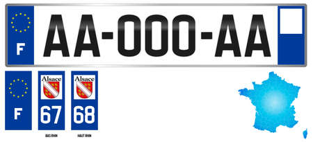 Alsace, french license plate, detail of the side label of the department, vector illustration, example of numbering