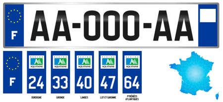 Aquitaine, french regional license plate template, detail of the side label of the department, vector illustration, example of numbering