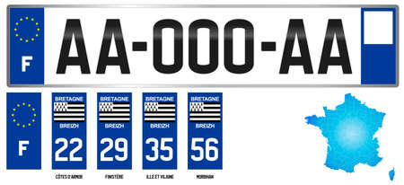Bretagne, french regional license plate template, detail of the side label of the department, vector illustration, example of numbering Vettoriali