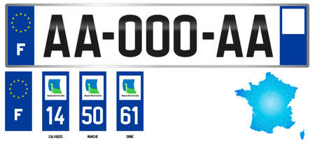 Basse Normandie (Lower Normandy), french regional license plate template, detail of the side label of the department, vector illustration, example of numbering