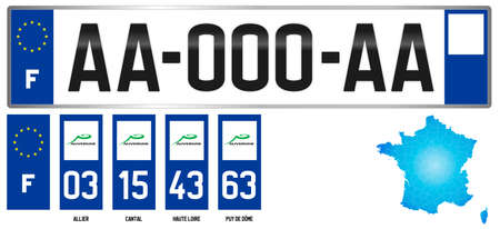 Auvergne, french regional license plate template, detail of the side label of the department, vector illustration, example of numbering