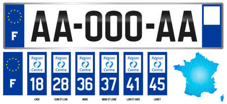 Region Center, french regional license plate template, detail of the side label of the department, vector illustration, example of numbering