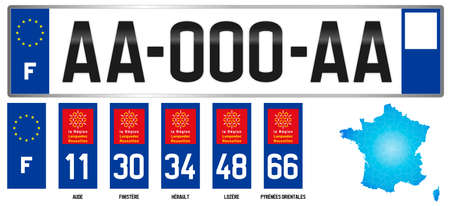 Languedoc Roussillon, France, french regional license plate template, detail of the side label of the department, vector illustration, example of numbering Vettoriali