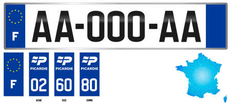 Picardie, France, french regional license plate template, detail of the side label of the department, vector illustration, example of numbering Vettoriali