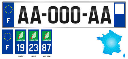 Limousin, France, french regional license plate template, detail of the side label of the department, vector illustration, example of numbering