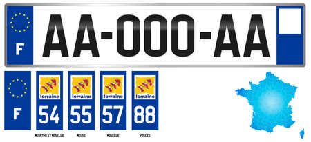 Lorraine, France, french regional license plate template, detail of the side label of the department, vector illustration, example of numbering