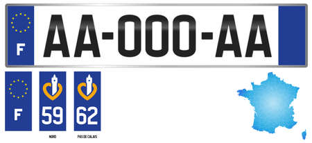 Nord - Pas de Calais, France, french regional license plate template, detail of the side label of the department, vector illustration, example of numbering