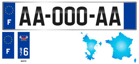 Mayotte atoll, France, french regional license plate template, detail of the side label of the department, vector illustration, example of numbering