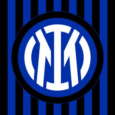 Milan, Italy, March 2021 - Internazionale (International) Football Club new brand logo 2021 design Editoriali