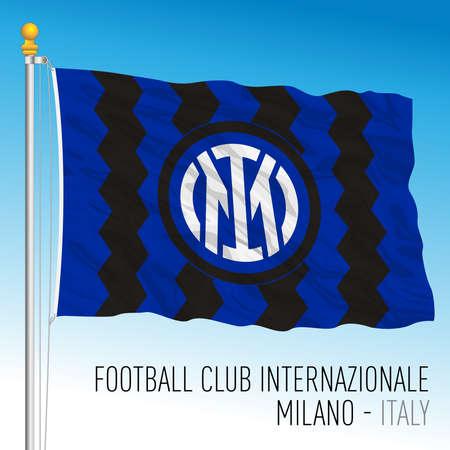 Milan, Italy, March 2021 - Internazionale (International) Football Club, flag with new brand logo 2021 design