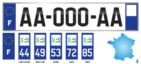 Pais de la Loire, France, french regional license plate template, detail of the side label of the department, vector illustration, example of numbering