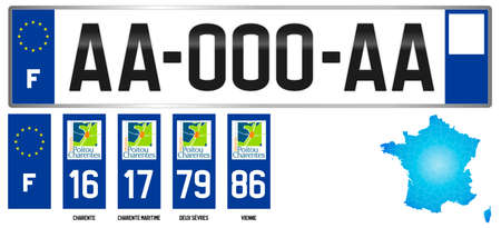 Poitou Charentes, France, french regional license plate template, detail of the side label of the department, vector illustration, example of numbering