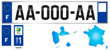 Guadeloupe, France, french regional license plate template, detail of the side label of the department, vector illustration, example of numbering