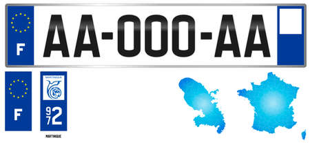 Martinique, France, french antilles regional license plate template, detail of the side label of the department, vector illustration, example of numbering