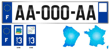Guyane, France, french regional license plate template, detail of the side label of the department, vector illustration, example of numbering Vettoriali