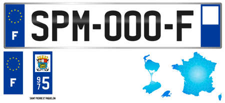 Saint Pierre et Miquelon, France, french territorial license plate template, detail of the side label of the islands, vector illustration, example of numbering