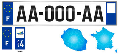 Reunion, France, french regional license plate template, detail of the side label of the department, vector illustration, example of numbering