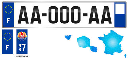 French Polynesia, France, french regional license plate template, detail of the side label of the department, vector illustration, example of numbering