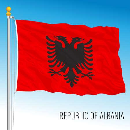Albania official national flag, vector illustration