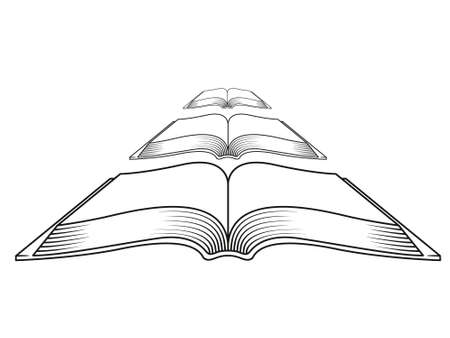 Vector drawing of books on the white background