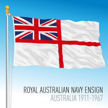 Royal Australian Navy flag, military ensign, Australia, oceanian country, vector illustration