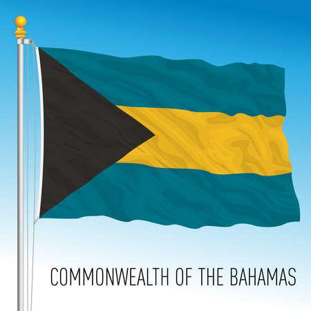 Bahamas official national flag, caribbean country, vector illustration