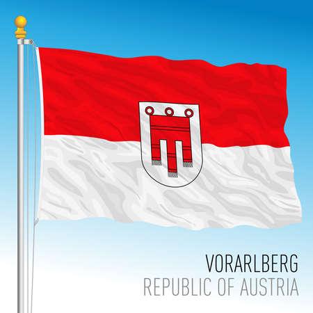 Vorarlberg official regional flag, land of Republic of Austria, vector illustration