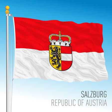 Salzburg official regional flag, land of Republic of Austria, vector illustration Stock Illustratie