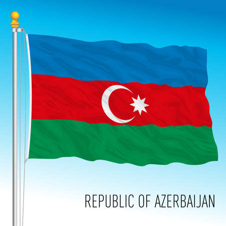Azerbaijan official national flag, asiatic country, vector illustration