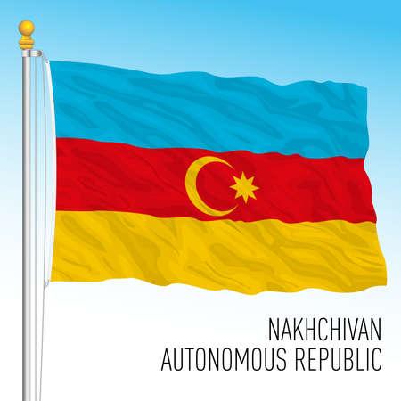 Nakhchivan autonomous Republic flag, Azerbaijan, asiatic country, vector illustration Stock Illustratie