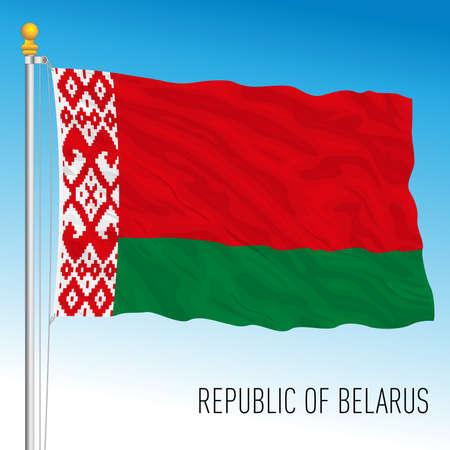 Belarus official national flag, european country, vector illustration