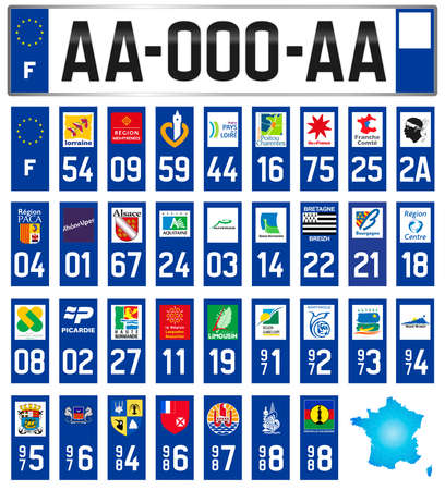 France, all French regional and departmental license plate labels with local symbols, vector illustration